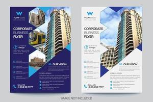 Modelos de Folhetos de Negócios de Design de ângulo de 2 cores vetor