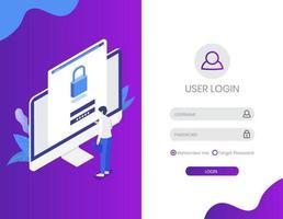 página de login com design isométrico de monitor e personagem