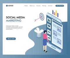 Conceito de Marketing de mídia Social on-line isométrico vetor