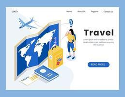 design isométrico da página de destino de viagens
