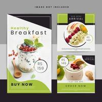 Conjunto de cartaz de mídia social de oferta de comida