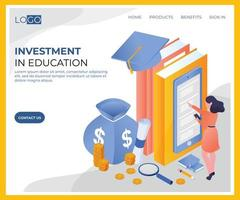 Investimento em desenho isométrico de educação vetor