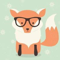Feliz Natal postal com raposa de óculos