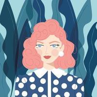 Retrato de uma menina com cabelo rosa vetor