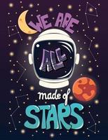 Somos todos feitos de estrelas, tipografia design de cartaz moderno vetor
