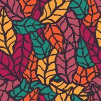 Padrão sem emenda com mão desenhada folhas naturais