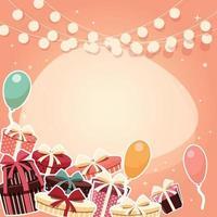 Fundo de aniversário com presentes vetor