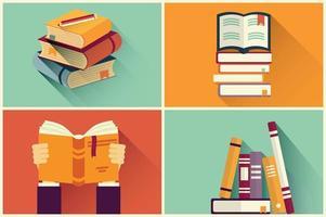 Conjunto de livros em design plano