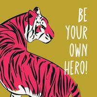Tigre desenhado de mão com frase feminista vetor