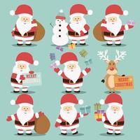 Coleção de personagens do Papai Noel vetor
