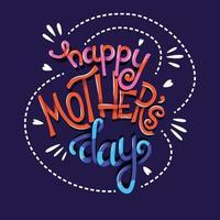 Feliz dia das mães, mão lettering tipografia vetor