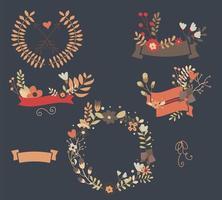 Mão desenhada banners vintage e elementos florais