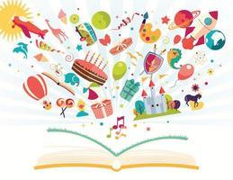 livro de caneta com balão de ar, foguete, avião voando