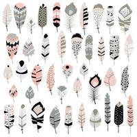 Coleção de boho tribal mão desenhadas penas vetor