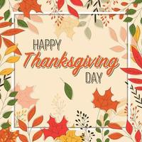 Feliz dia de ação de Graças de cartão com elementos florais vetor