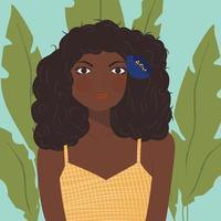Retrato, de, um, menina americana africana, com, cabelo escuro vetor