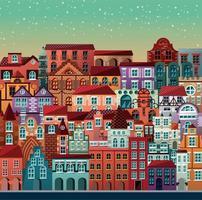 Coleção de edifícios e casas cena urbana