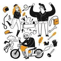 Motociclistas do conjunto de caracteres vetor