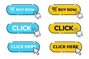 Ícone de mão cursor vector com botão azul clique