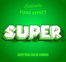 Super contorno em camadas de texto, efeito de texto editável vetor