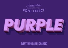 Texto 3D roxo, estilo de texto editável vetor