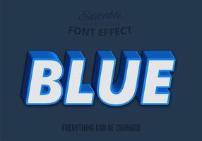 Texto 3D azul, estilo de texto editável vetor