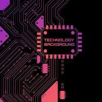 Fundo de circuito de tecnologia de néon vetor