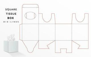 caixa dieline para caixa de tecido quadrado vetor
