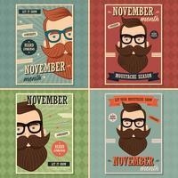 Design de cartaz de novembro sem barba vetor