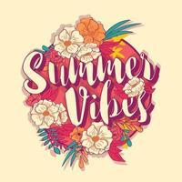 Banner de tipografia de vibrações de verão no quadro de flores tropicais vetor