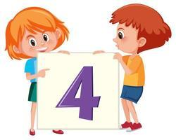 Crianças, segurando o número quatro banner vetor