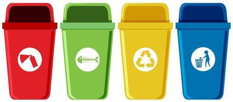 Conjunto de caixas de reciclagem vetor