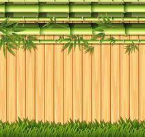 Bambu e conceito de cerca de madeira vetor