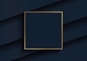 Fundo elegante com design de pontos de meio-tom dourado e moldura de ouro vetor