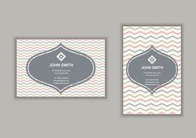 Cartão de visita com listras chevron design em formato retrato e paisagem