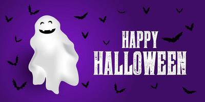 Banner de Halloween com fantasmas e morcegos