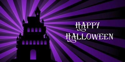 Banner de Halloween com castelo no design starburst