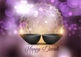 Fundo de Diwali com lâmpadas e luzes bokeh design vetor