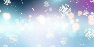 Flocos de neve de Natal e banner de luzes de bokeh vetor