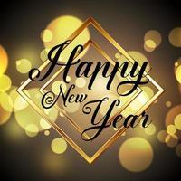 Feliz ano novo design dourado vetor