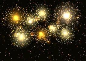 Fogos de artifício dourados exibir plano de fundo vetor