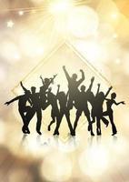 Multidão de festa em um fundo de luzes de bokeh ouro vetor