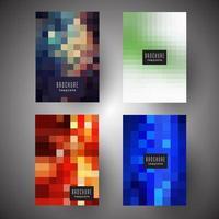 Capas de brochura com desenhos de pixel abstratos vetor