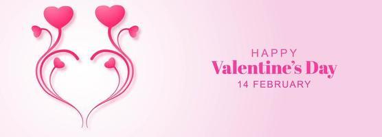 Banner de dia dos namorados coração floral design vetor