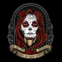 dia de los muertos menina pintada rosto vetor
