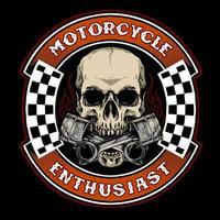 motociclista de caveira com distintivo de pistão vetor