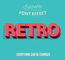 Texto listrado na diagonal retrô, estilo de texto editável vetor
