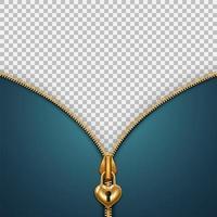 Banner com zíper de cadeado dourado descompactado vetor