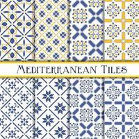 Coleção de padrões de azulejos mediterrânicos vetor
