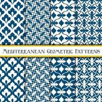 Elegante coleção de padrões mediterrânicos geométricos azuis